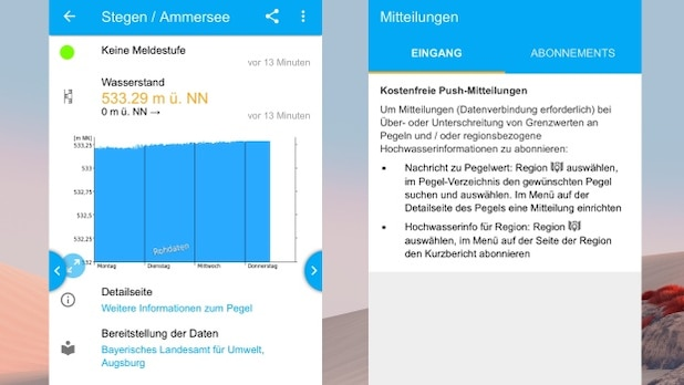 My level provides information about water levels in Germany and the Netherlands.