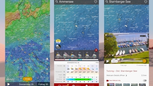 With Windy you get a lot of information about current and future wind conditions.