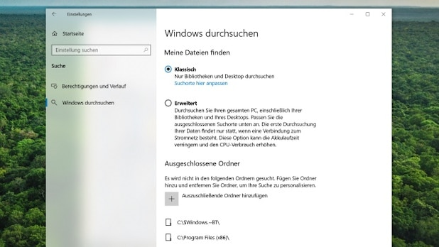Windows also searches all folders on the PC if desired.