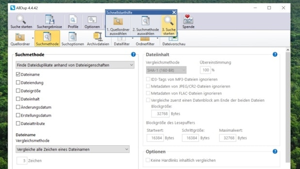 AllDup reliably finds duplicate files on the system.